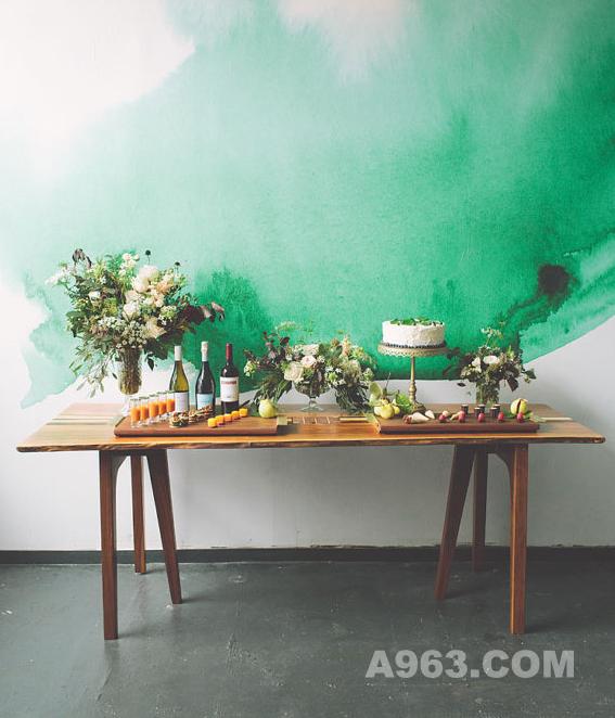 这种绿色水彩画就觉得好漂亮啊