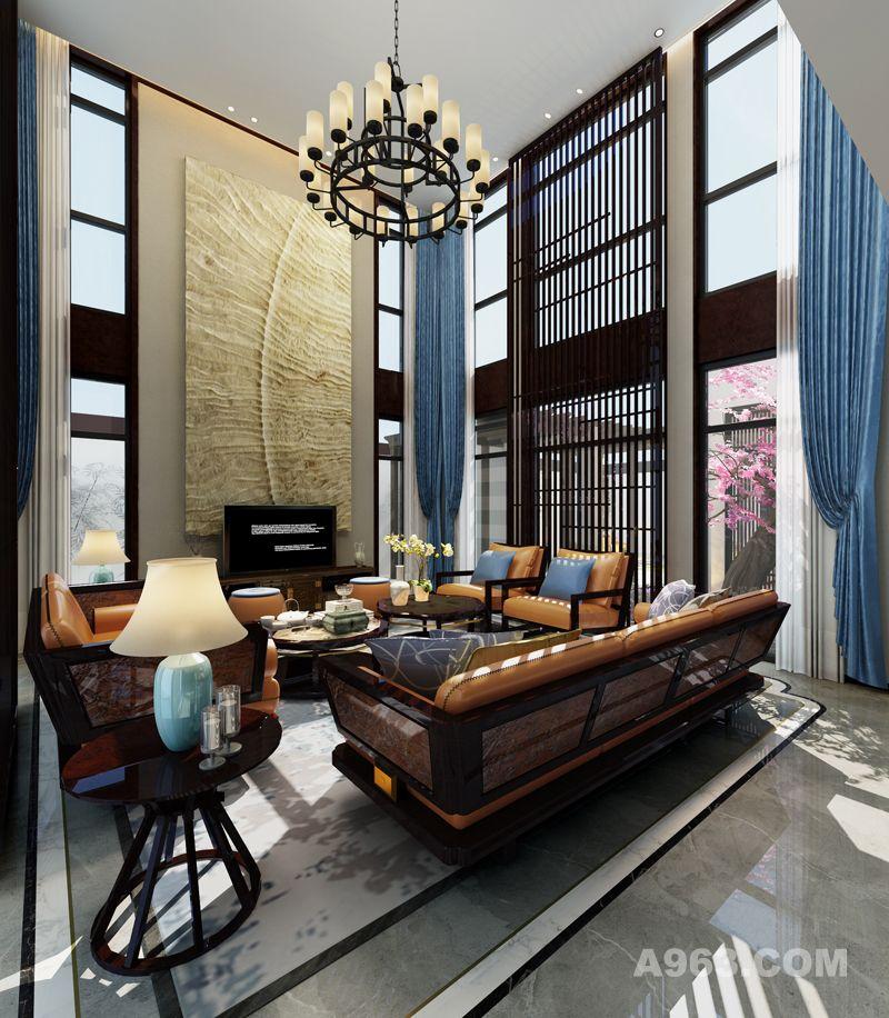 【上海别墅装修设计】春江美庐450平新中式风格设计装修案例