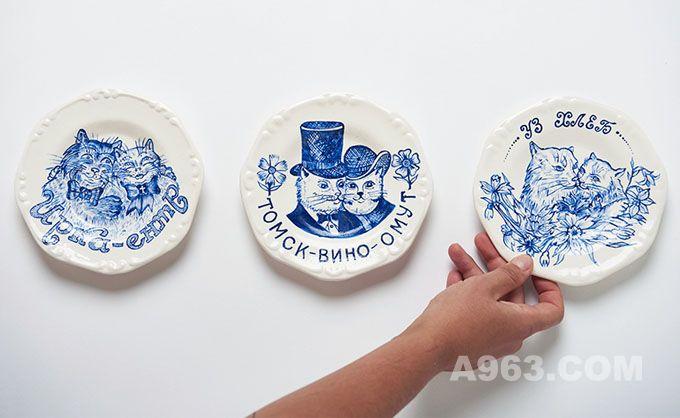 当俄罗斯传统蓝花瓷邂逅纹身图案
