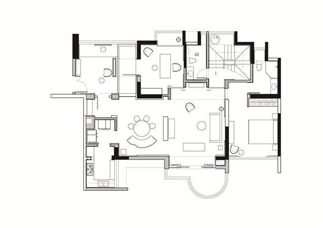 《筑象-东莞天骄峰景样板房》项目一层平面图