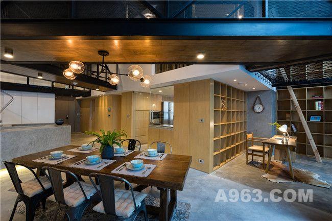 书房、吧台、厨房及餐厅