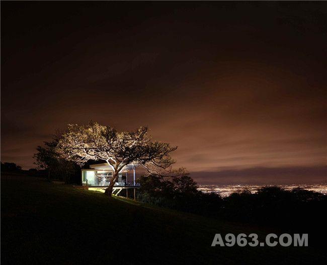 城市开始散发出微弱的灯光,其余景观开始迷失在黑暗中,只剩下小屋与被照亮的榕树。