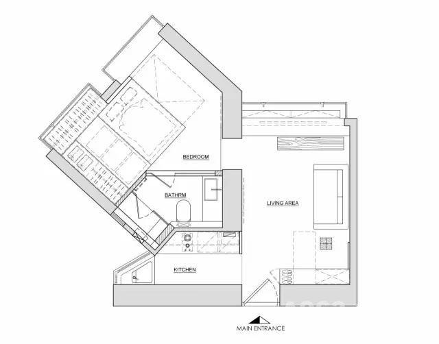 造后的平面图  虽是一个人居住的家 但也得有满满的精致感  拆去厨房及主人房掩门 前者改为半开放式格局 后者改装特色趟门分隔厅房区域