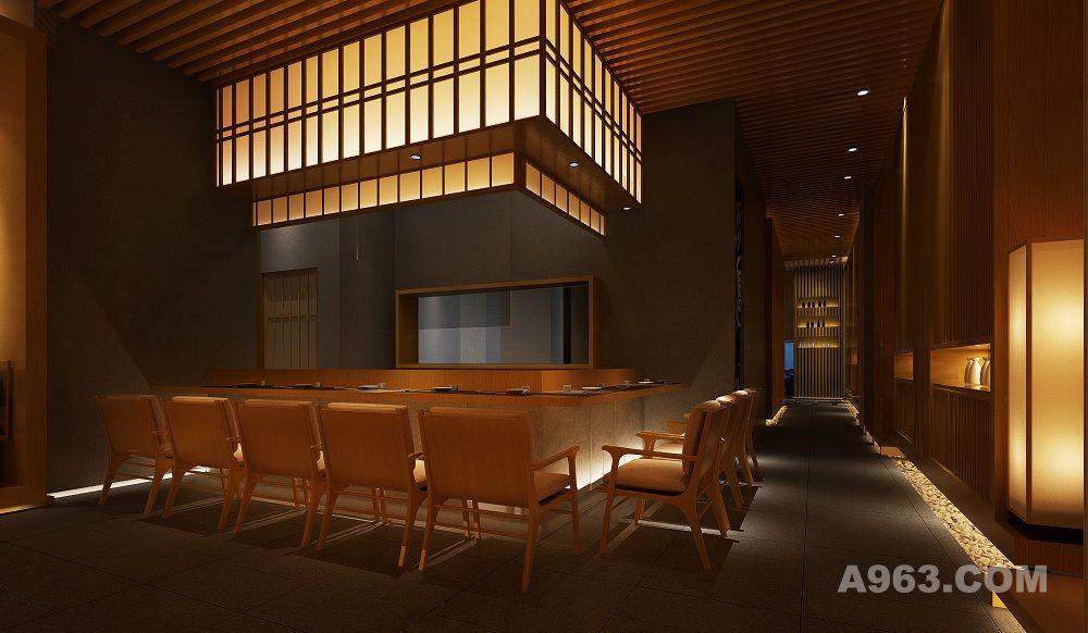 餐厅呈矩形状,相对规整。设计师删繁就简,结合原结构柱的位置,精心规划了动线,包间及散座,将原本狭长的空间合理划分成不同的功能区,空间与空间之间的渗透,小景观的处处营造,步移景异的精心按排,迭宕起浮,空间的私密性和趣味得到完美展现,原木与枯石的结合,高地错落,刚柔并济,空间的艺术化得到升华。