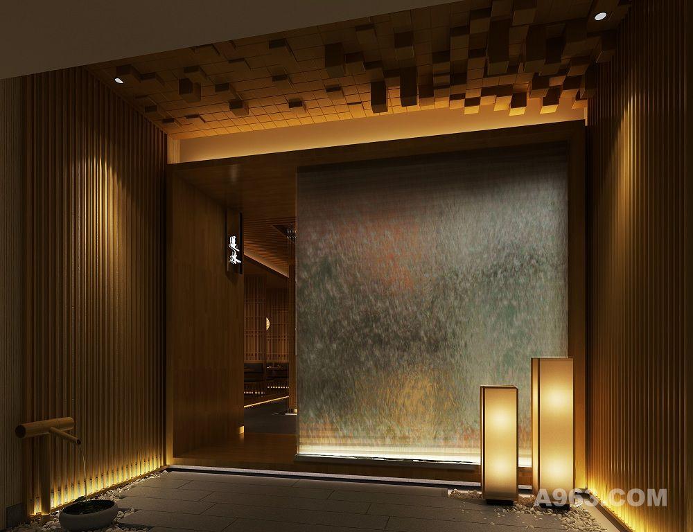 """门口处由一扇电动木质推门拉开整个餐厅的序幕。门厅处迎面而来的水幕缓缓流淌,配合灯光的设置,以及顶上木纹""""水花""""的抽象表现,不同材质的对比和光线的明暗,营造了入口门厅的氛围。同时也突出了餐厅的主题----是水,不是水"""