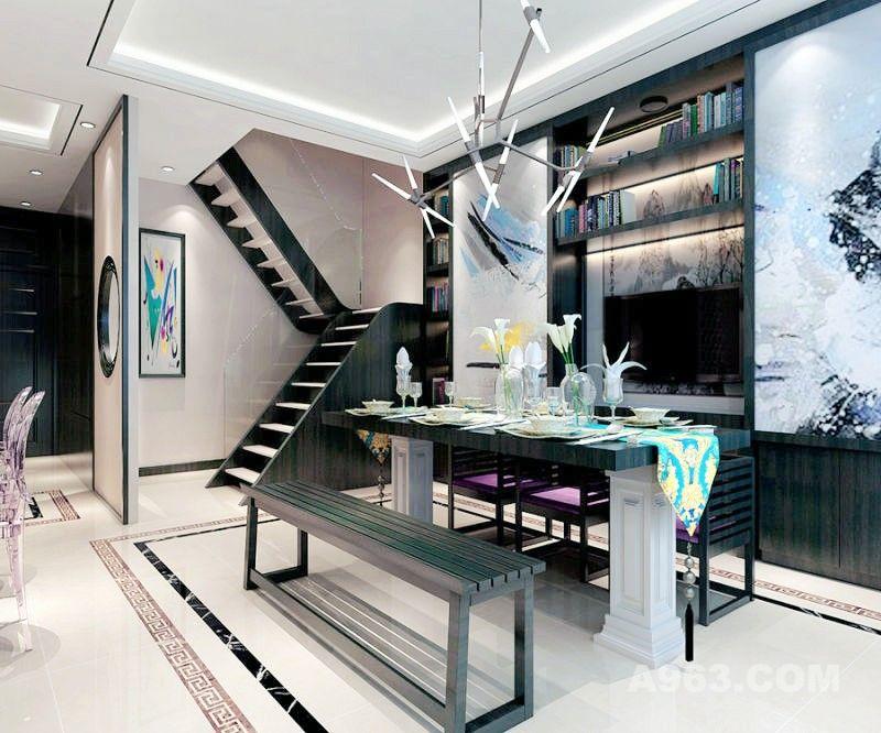 餐厅区域整体色调明亮,家具材质颜色沉稳,加以新中式元素与现代感的装饰搭配。