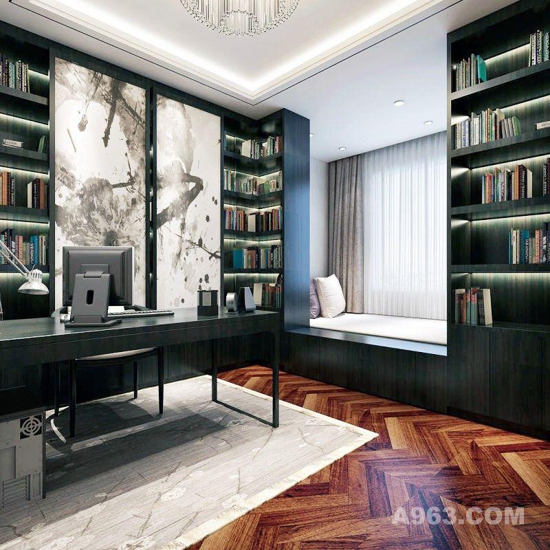 深色家具给人以沉稳,墙面水墨画特色又点睛。
