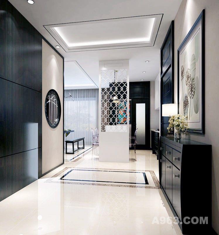 门厅整体风格与大空间统一,地面的波打线与吊顶相呼应,墙面造型的中式元素更加丰富。