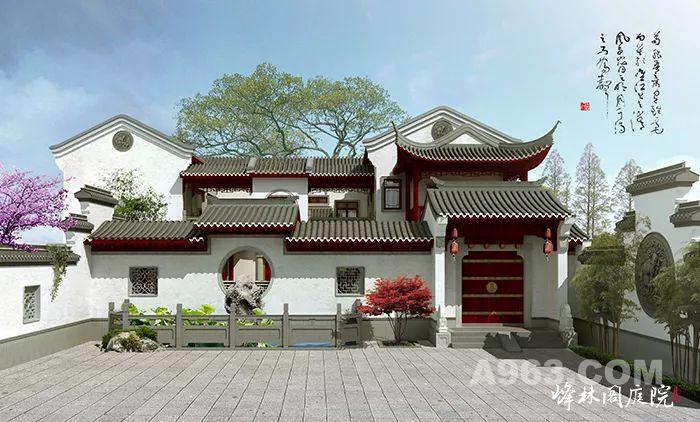 中式庭院建筑内庭院景观效果图