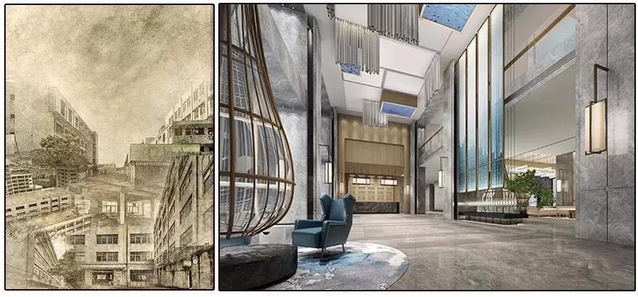 港湾1号园区内唐邑酒店改造前后对比图