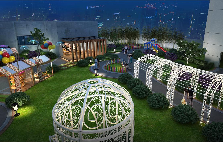 在主题商业街之外的地方,我们结合现有的景观设置了较为安静、唯美的灯光长廊,和儿童休闲区,让热闹的灯光旁也有可供一家人温馨闲坐的区域。
