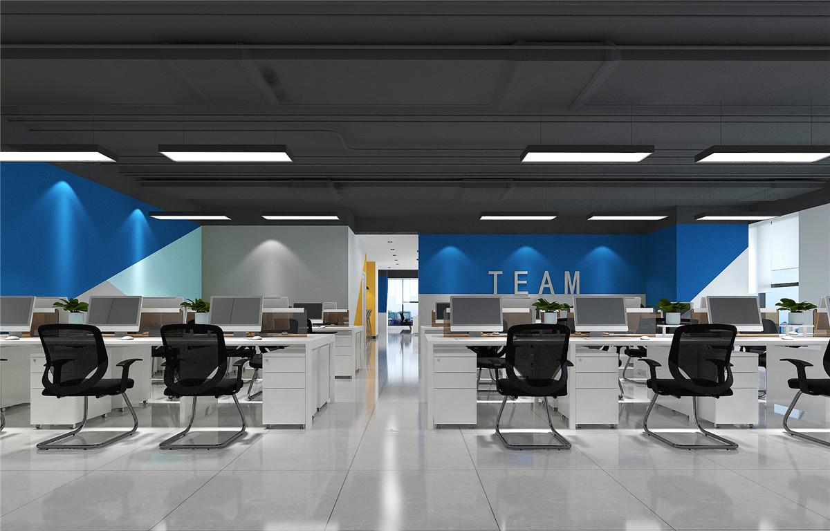 敞开办公区-郑州龙子湖云智科技现代简约风办公室装修设计方案