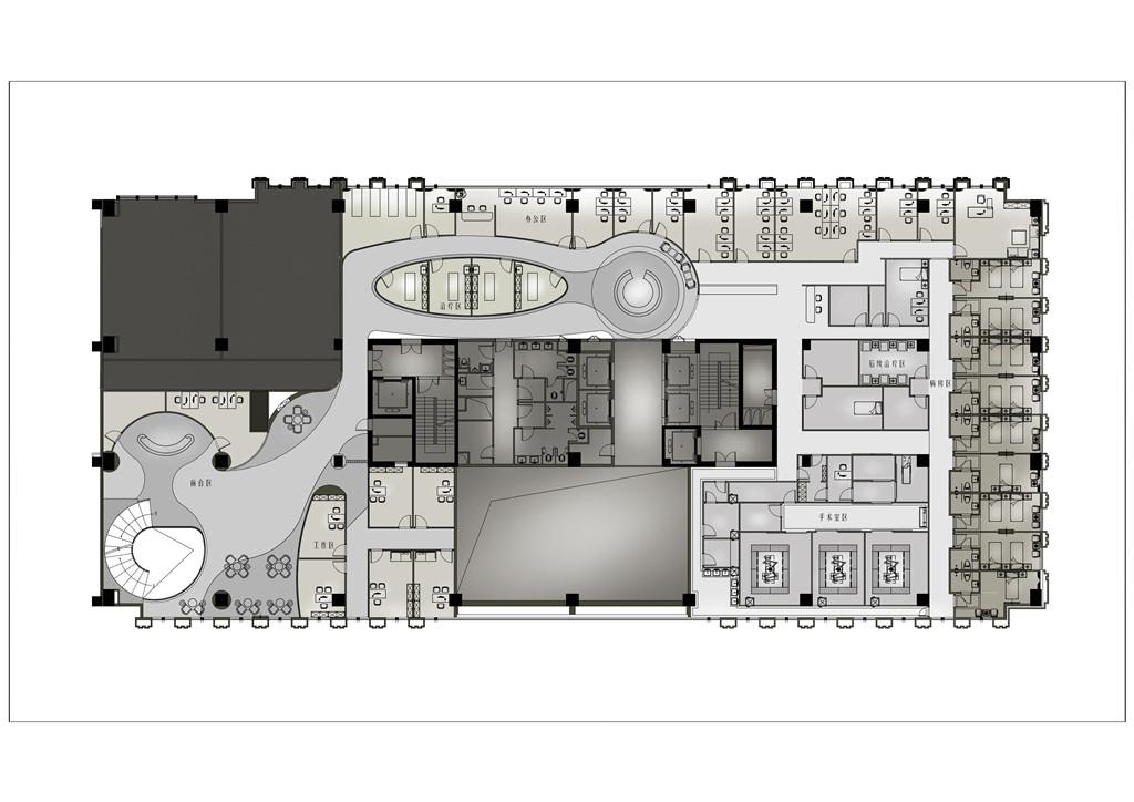 空间改造: 1. 拆除楼板,设置弧形楼梯让一层二层相互通达。 2. 原空间狭长,利用曲线的平面规划,让空间如行云流水般顺畅,平面布置上采用洄游布局空间。 3. 在每个关键的节点上有设置有景观,达到一步一景的效果,空间具有节奏感,顾客的感受良好。 4. 中间医疗区房间布置宛如蝉蛹。