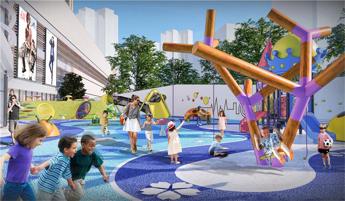 溆浦首个沉浸式、一站式、全业态休闲购物公园经典广场效果图
