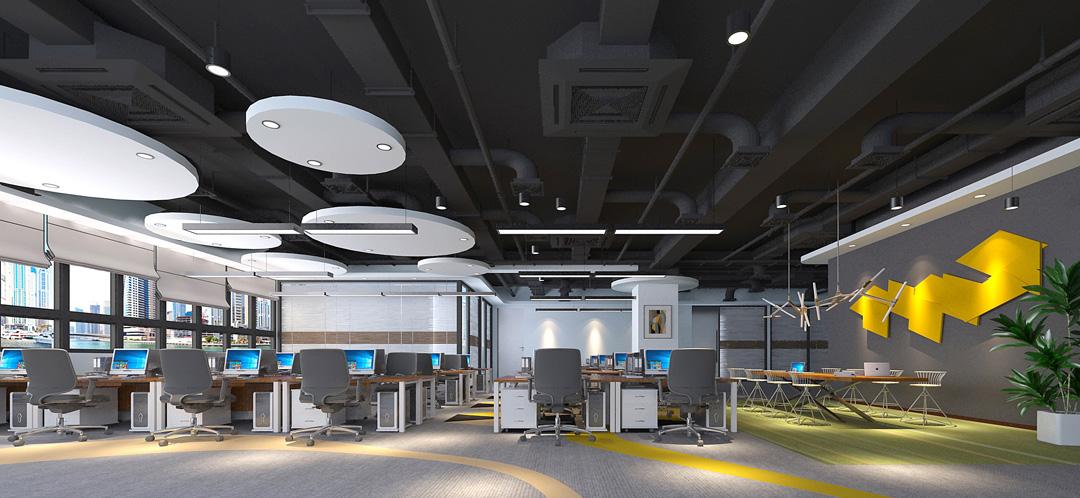福田办公室装饰设计——开放办公区域装修效果图