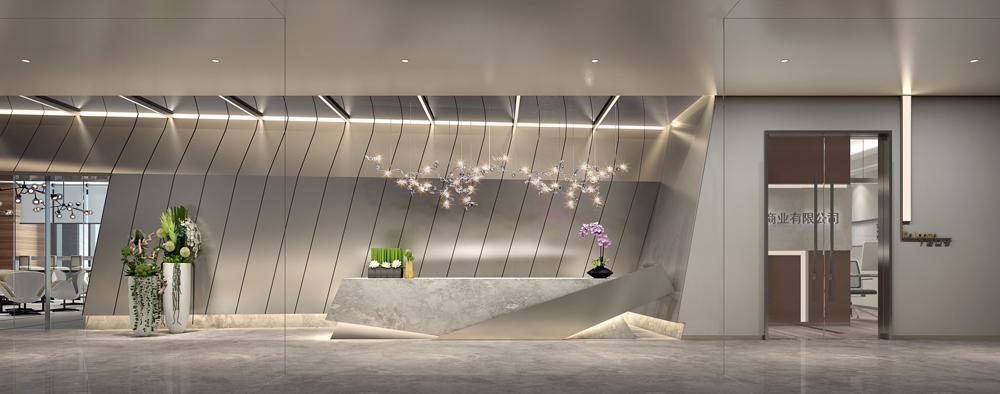 走道接待处用大块面的充满动感的造型墙面,独特个性的服务台来塑造一个充满创意的共享办公空间