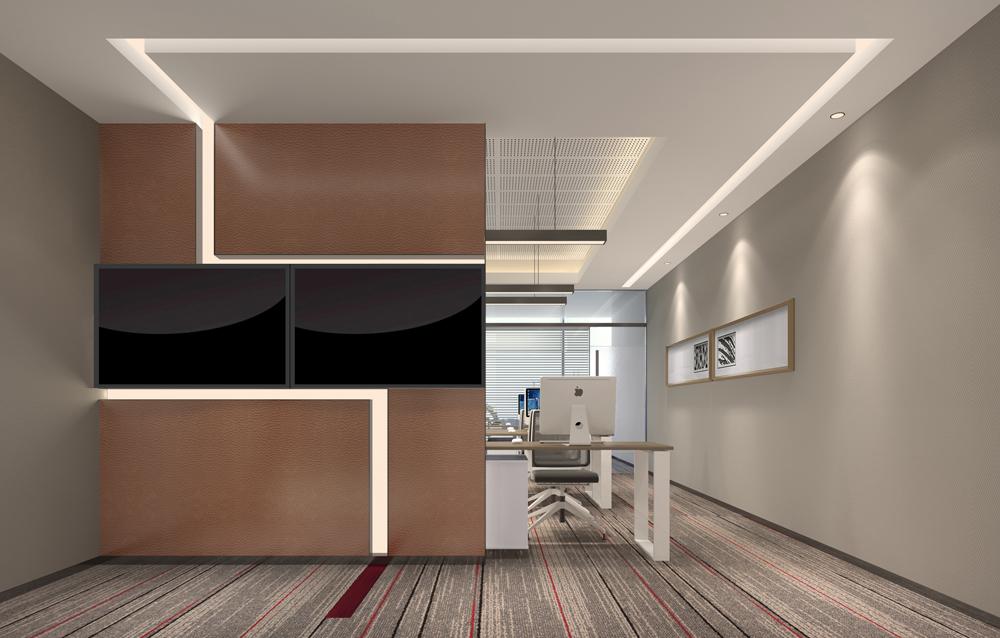 办公室充分体现了共享的性质,背景墙镶嵌的屏幕可以灵活的展示不同的公司LOGO