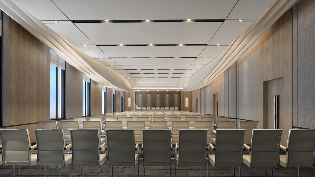 企业办公总部多功能厅天花流畅的造型,使沉稳质朴的空间有了一份灵动之意。