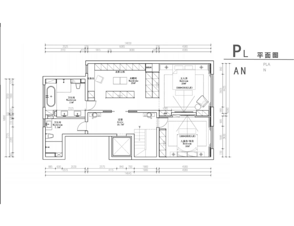 二层墙体拆除重新规划,主卧墙体打通,与衣帽间相连,原卫生间墙体拆除重建,分为主卫客卫,整体作为居家休息区;