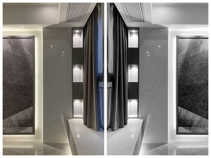 现代极简风格造就的现代简奢家居无论是从装饰还是空间布置上来说都有着浑然天成的清冷、纯净的气质,现代简约中仍能隐约窥探出充满艺术气息的设计感,以纯净的白色或灰色为底,添加少许色彩进行巧妙点缀,营造出明亮优雅或低调沉稳的家居氛围。清爽的色彩搭配能够营造视觉上的宽敞感与明亮感,让美观性与功能性在同一空间和谐共存。