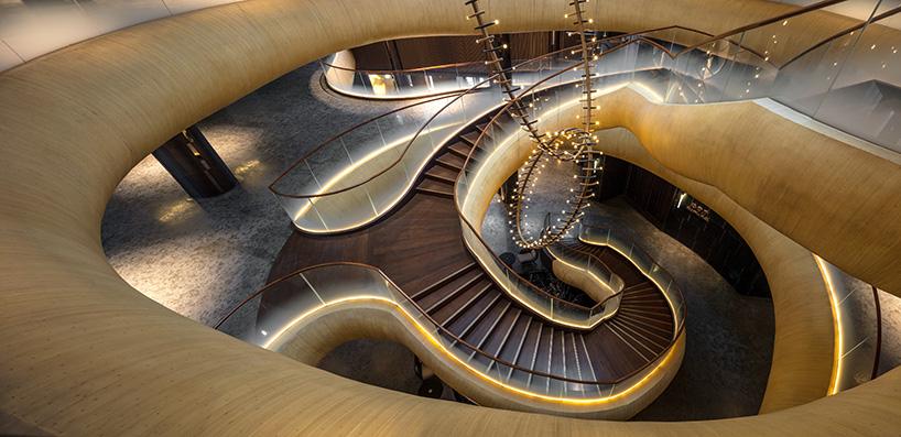 """人们常说,约束鼓励创造力;當我们尽了最大努力希望在酒店内部只使用天然材料時,在""""竹云""""楼梯的設計上消防安全限制显然阻止了纯竹结构的使用,连续的""""竹子""""楼梯因此是有創意地通过玻璃增强石膏(GRG)技术加上当地艺术家手工绘制竹子图案在表面,鬼斧神工活了起来。"""