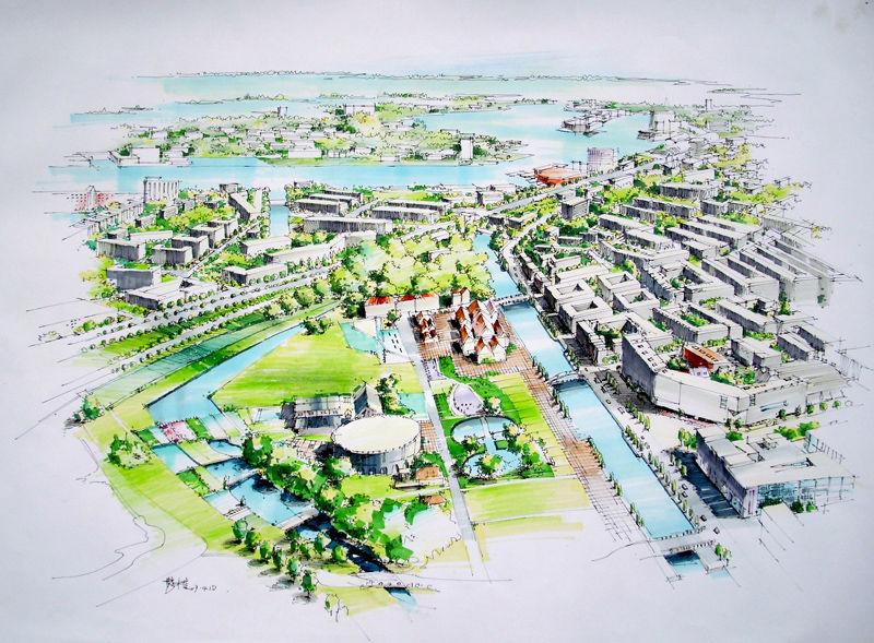 景观班手绘作业——某小区规划图片