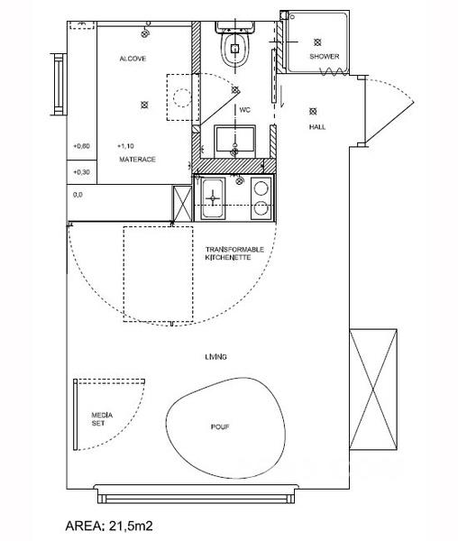 空间节省方案,比如可转换的厨房和餐厅,洗衣机放在床下面.室
