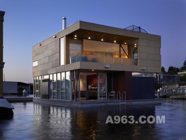 西雅图湖上漂浮原则设-刘丹姚斑竹的设计师家别墅空间景观设计禅意图片