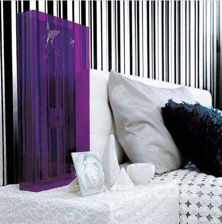 黑白/规律与随意是两种不同的装饰风格,在黑白条纹的墙壁之上,一面...
