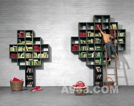 装修 客厅 书架/由一个个方格组成的树形书架,没有一定的形状,但是绝对功能...