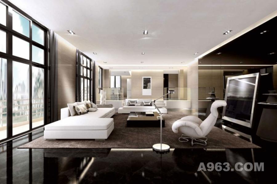 宜兴郁金香庄园C59号别墅室内设计方案客厅 黑白精致空间 设计师运用明暗对比来处理空间层次,深色的背景,白色的沙发.而黑与白又并非绝对的隔离.它们之间存在着静默的灰色.灰色游移在黑白之间,但又难以归纳与哪一方.这份矛盾的暧昧深距吸引力.指出了趣味所在.