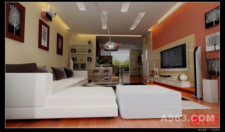 客厅 客厅这里采用了暖色调的墙面配合暖色电视墙,中间白色的沙发起到了缓冲的作用。简洁明快。业主喜欢投影,因此在电视墙这边做了个投影幕布,房子的距离刚好适中。吊顶做了个全吊,使用筒灯照明,效果明亮,而且避免了装吊顶的话挡到投影机。