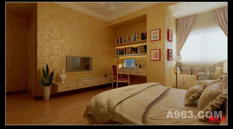 卧室电视墙背景 卧室电视墙背景旁边刚好有一个凹槽,因此设计成一个小小看书的空间,书桌与电视柜连成一体,书桌上做两个简单的隔板放书。整体简洁,美观大方。旁边的柱子再挂上4幅画,更为空间增添了色彩。墙面采用暖色调的墙纸,符合卧室居住空间的需求,让人有一种温馨的感觉。