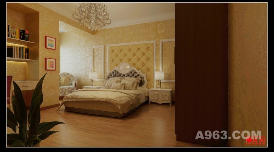 卧室背景墙 卧室背景墙采用软包和线条装饰。色彩以米黄色为主。