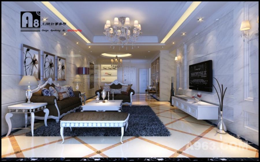 客餐厅角度3 爵士白的使用,让空间不仅优雅且明亮