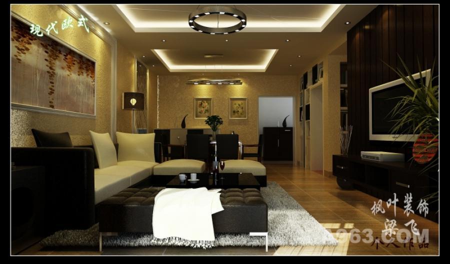 客厅 客厅部分一目了然,黑白搭配的沙发,欧式线条,米黄色的墙纸,浓重的电视墙平衡了客厅的一角。地砖采用亚光仿古砖把现代与欧式很好的结合在一起,还带了一点点中国人古典的气息。符合了业主的要求。