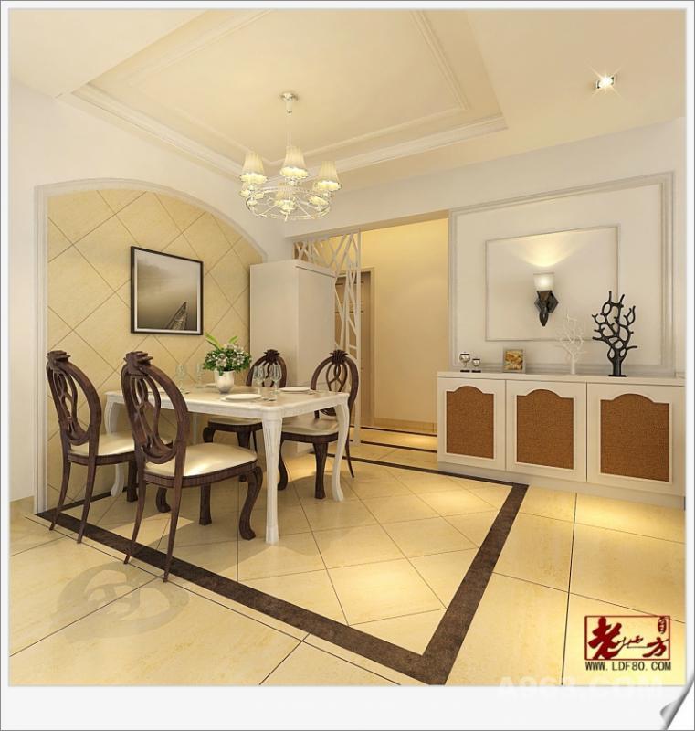 餐厅另一视角 经典的欧式壁灯是点睛之笔,餐厅与卧室的隔断把动静分区,让家居出落得惬意从容。多元化的收纳与墙面结合,镂空、婉转、陈列、隐藏等不同形式融于空间中,功能与美感并具的干净舒适,让格调美居实至名归。