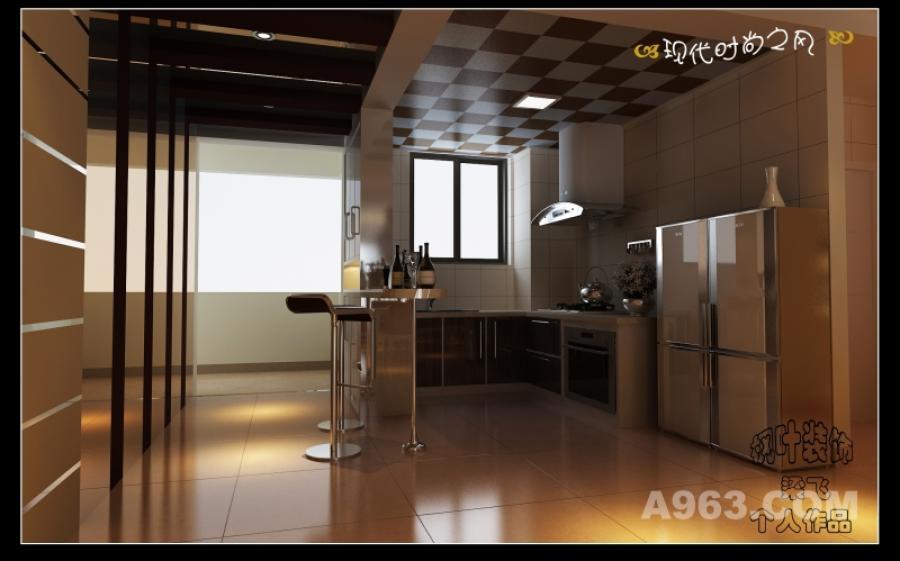 厨房 厨房原本是封闭式的,现在打通成开放式的了。封闭式的话厨房过道这里空间窄,无法有效的利用空间,厨房里面的空间也暗了不少。现在做开放式的,挺好!呵呵