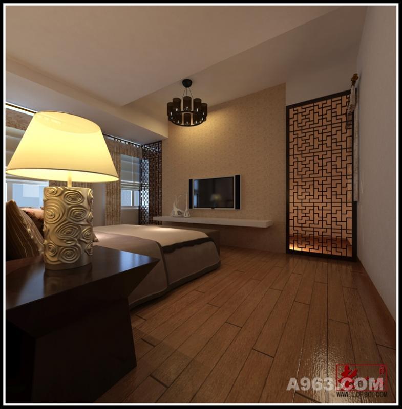 卧室 卧室色调的把持也延续了中式传统的沉稳淡雅,就连台灯的纹理也透着浓浓的华夏文化气息