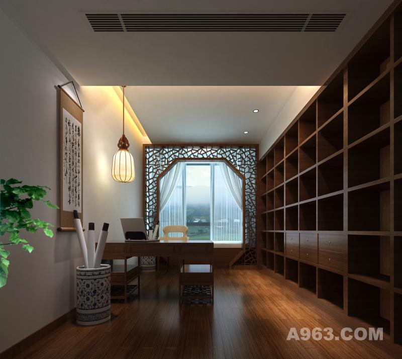 书房设计 八边形的月亮门划分出阅读与静思的空间