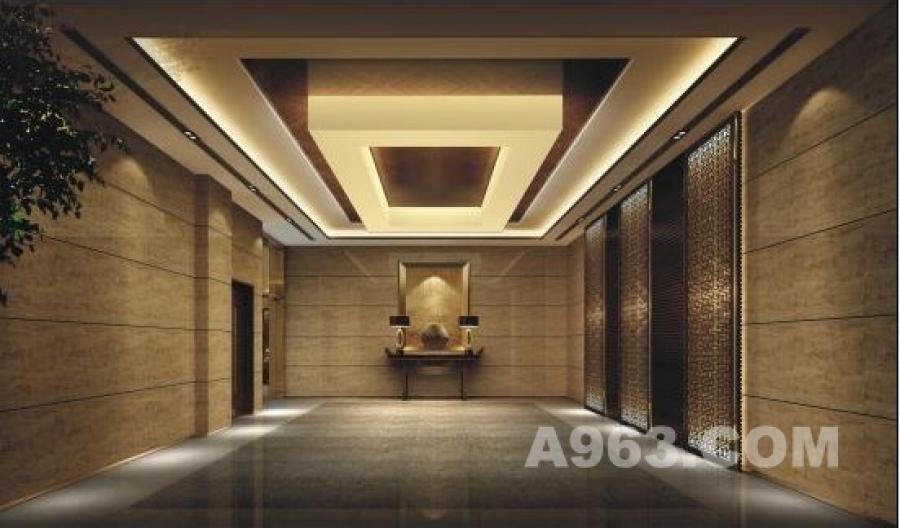 写字楼入口大堂 写字楼入口大堂运用仿古的石材,灯具和实木格栅简洁的灯箱呈现出大方富丽的空间效果