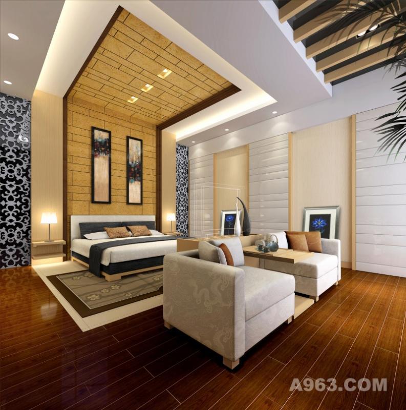 鹏利海景花园 主卧 主卧室设计维持一贯时尚、舒适的基调,个性的设计让主人可以全身心的彻底放松,个性实用一直是设计师的宗旨。
