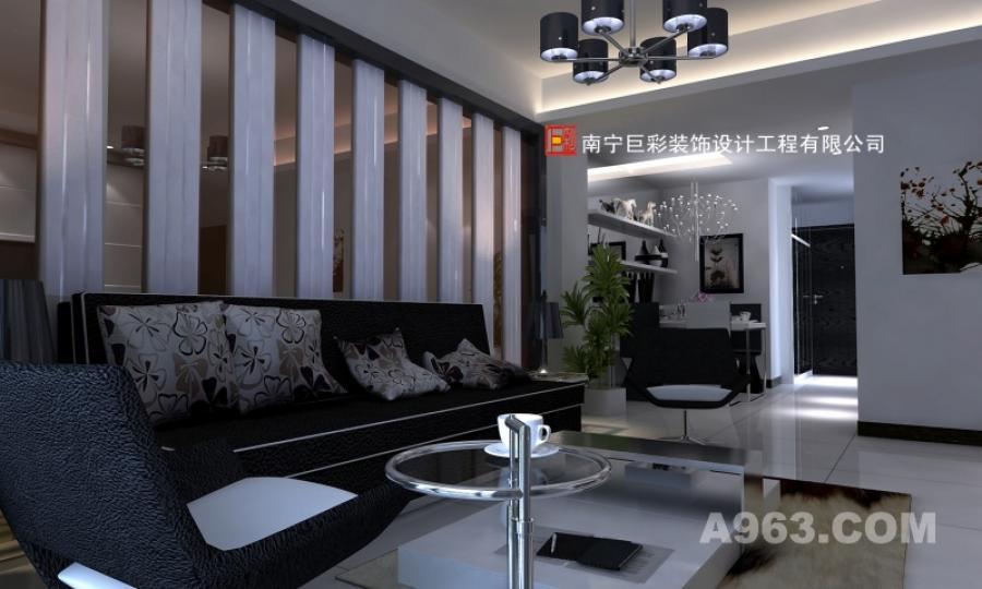 客厅时尚新装 本案要求设计师营造独特的时尚空间印象,所以在材质上多用于软包、玻璃、皮革、石材等。陈设以无色彩的丰富造型呈现在环境中,使纯净的居室空间绝无单调的感觉。