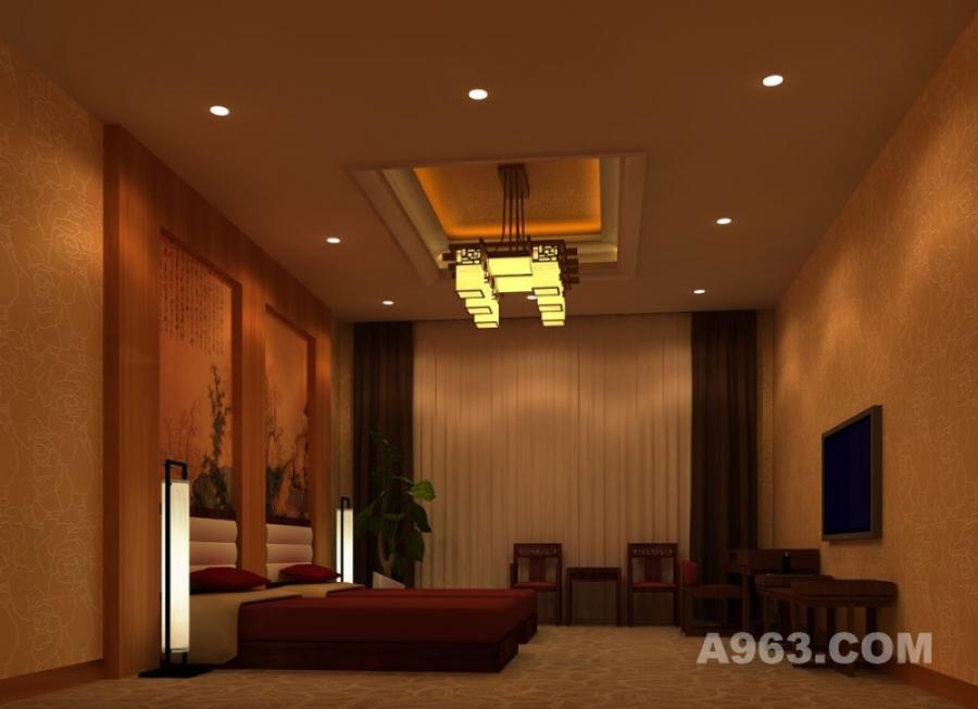 客房标准间 客房的标准间以清代山水画为床头背景墙的装饰,宫灯、清式家具烘托清文化气息