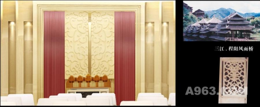 侧立面设计——和平之桥 设计理念:演绎提炼传统木雕花窗福寿图案 材料:木质微缩模型(程阳风雨桥) 制作工艺:艺术品 广西形象指数:★★★★★ 视觉效果:精美大方 纯朴自然 赋予联想