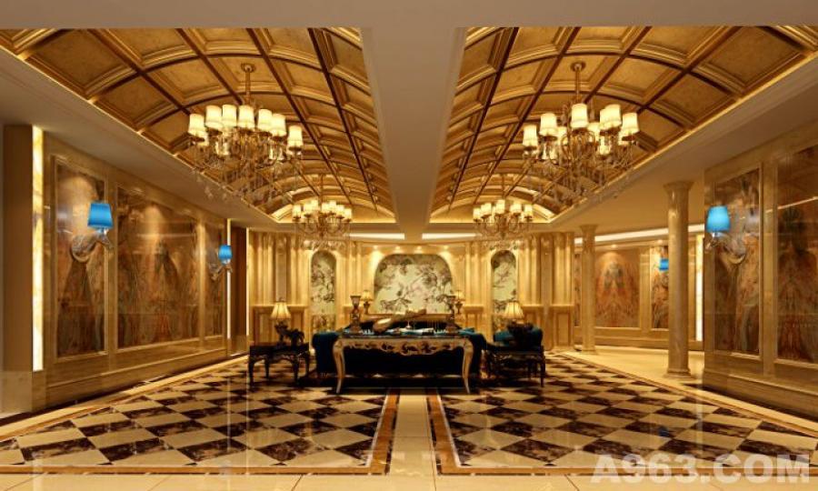 一楼大厅 在造型上,以欧式线条勾勒出不同的装饰造型,气势恢宏、典雅大气。 在色彩上,运用明黄、金色等古典常用色来渲染空间氛围,营造出富丽堂皇的效果。 在材质上,采用仿古地砖、欧式壁纸、大理石等,强调了稳重、华贵与舒适。
