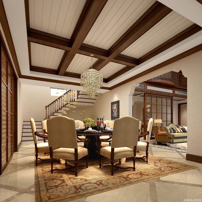 餐厅:温馨的餐厅它往往选择部位良好的木质以增加质感、浪漫,强调简洁、明晰的线条和优雅的、得体的装饰,椅子上的精心涂饰和雕刻,表现出独特的特色,传达了单纯、休闲、有组织、多功能的设计思维,让人有种释放压力和解放心灵的净土。