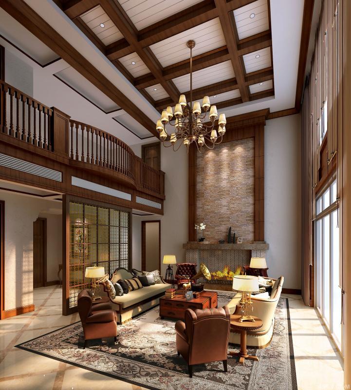 客厅:由于强调居家自然风格,因此选用以清爽、柔软、舒服的感觉的色彩,同时装修较其它空间要更明快光鲜,使用大量的石材和木饰面装饰, 既注重起居品质,又不过分张扬。