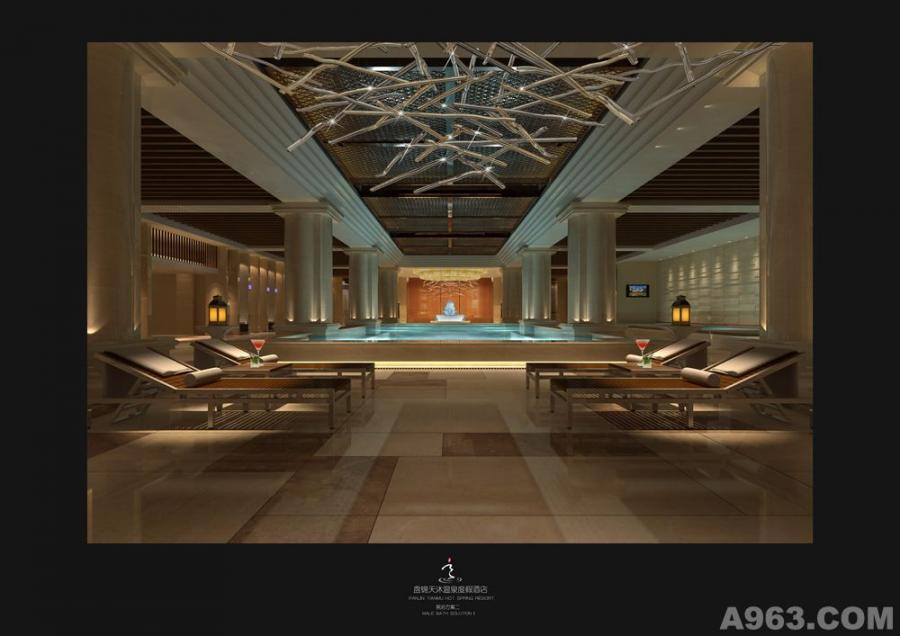 天沐国际温泉度假酒店设计-男浴区