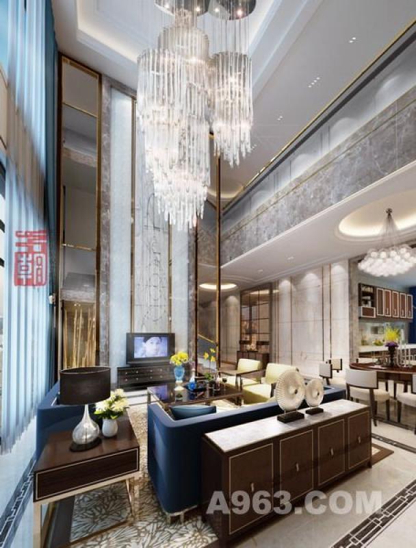 (会客大厅)、中空的客厅,香槟金镜钢的点缀,加上简单却不失豪华的家具,都赋予了室内空间的温馨典雅元素,充分体现业主的高贵热情。